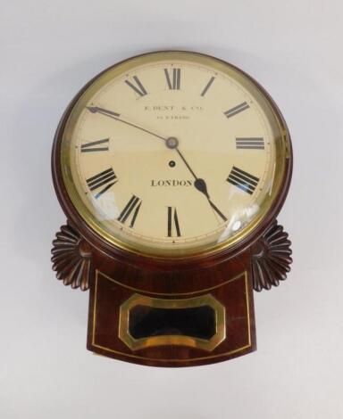 A Regency mahogany and brass inlaid wall clock