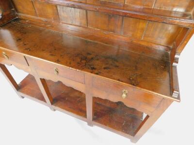 A Georgian oak and elm Welsh dresser - 4