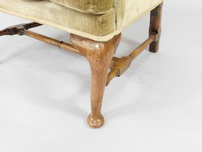 A Queen Anne walnut framed library wingback chair - 2