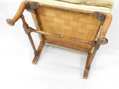A Queen Anne walnut framed library wingback chair - 3