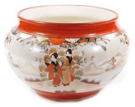 A Japanese Kutani pottery jardiniere