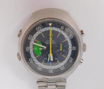A gentleman's 1970s Omega Flightmaster chronograph stainless steel wristwatch