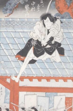19thC Japanese School. Figure of a Samurai on roof top