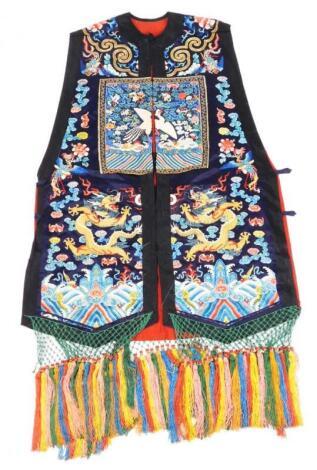 A 19thC Chinese ladies Xia Pei silk embroidered gauze dragon vest