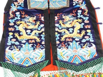 A 19thC Chinese ladies Xia Pei silk embroidered gauze dragon vest - 3