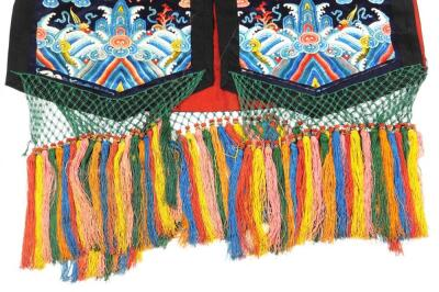 A 19thC Chinese ladies Xia Pei silk embroidered gauze dragon vest - 4