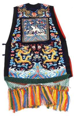 A 19thC Chinese ladies Xia Pei silk embroidered gauze dragon vest - 5