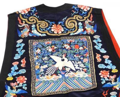 A 19thC Chinese ladies Xia Pei silk embroidered gauze dragon vest - 6