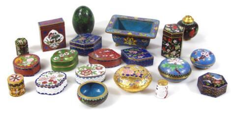 Various 20thC cloisonné enamel miniature boxes