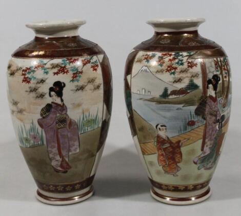 A pair of late Meiji period Japanese satsuma vases