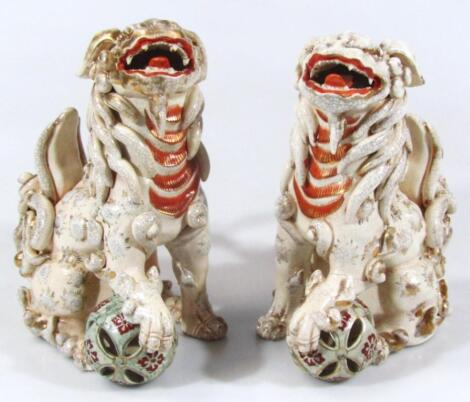 A pair of satsuma pottery temple lions