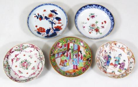 Various 19thC Chinese and other porcelain saucers