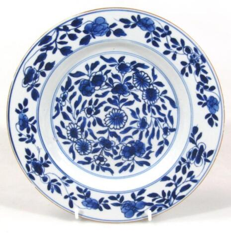 A 17thC style Chinese blue and white porcelain plate