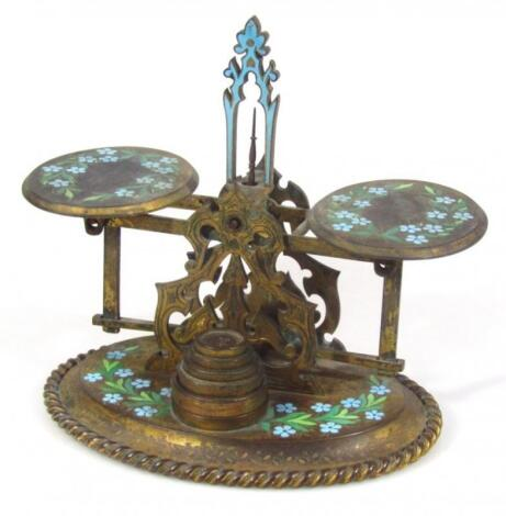 An early 20thC metal and cloisonné finish table scale