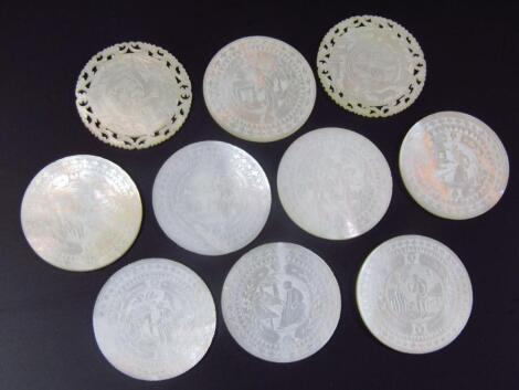 Various early 20thC mother of pearl gaming counters