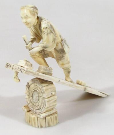 A Japanese Meiji period ivory figure group