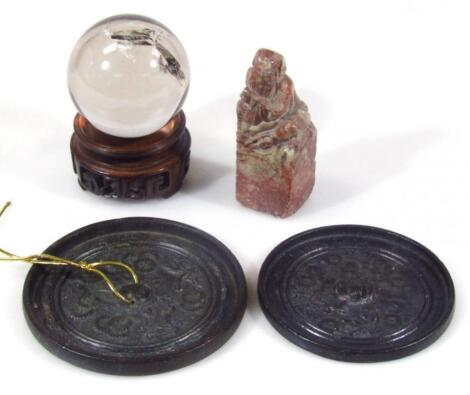 A Chinese soap stone desk seal