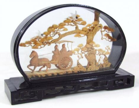 A 20thC oriental cork diorama