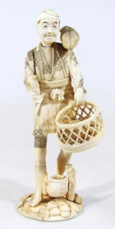A late 19thC Japanese Taisho period Tokyo School ivory figure