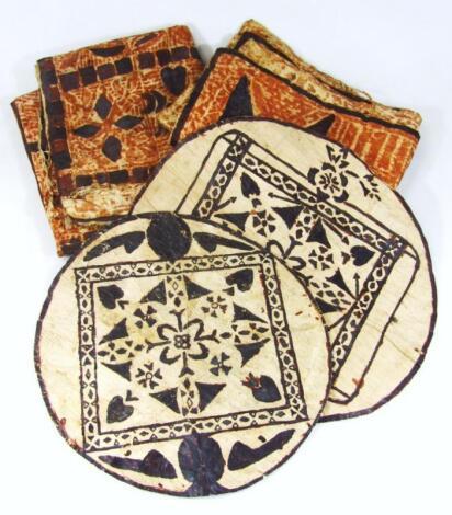 Four examples of Polynesian book cloth