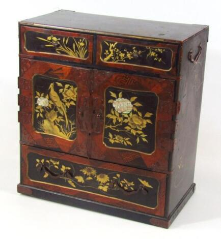 A Japanese Meiji period japanned and lacquered jewellery cabinet