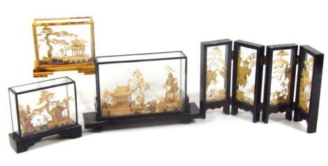 Three various cork dioramas