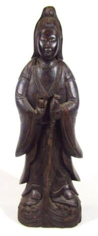A 19thC oriental wooden carving