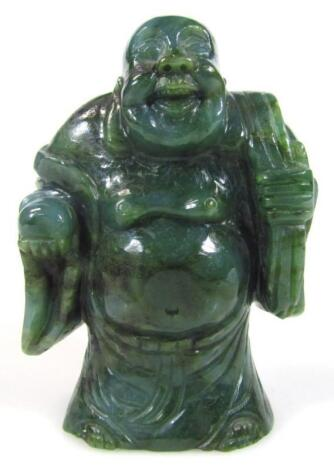 A Nephrite style polished figure of Buddha