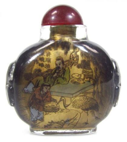 A 20thC Japanese reverse glass snuff bottle