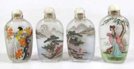 Three Japanese reverse glass snuff bottles