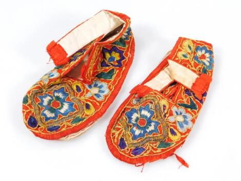 A pair of Chinese silk work shoe covers and bases
