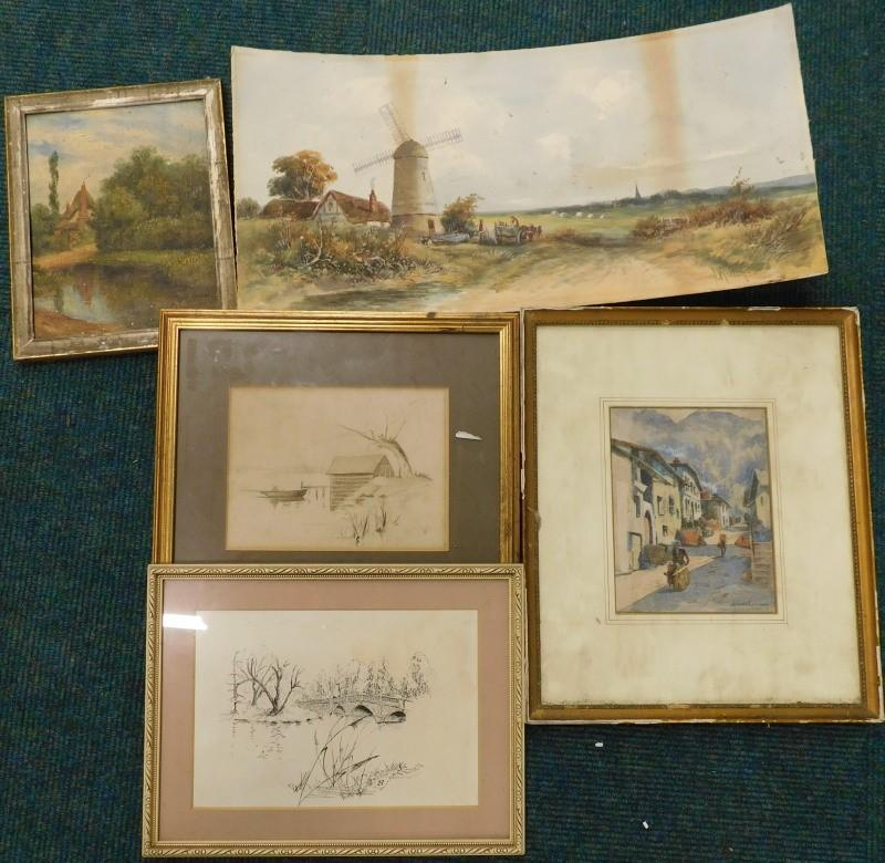 John Glynn  Street scene with mountains - Price Estimate: £0 - £0