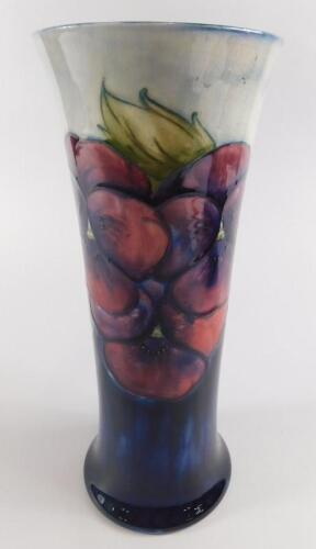 A Moorcroft Pansy pattern cylindrical tapering vase