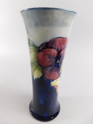 A Moorcroft Pansy pattern cylindrical tapering vase - 2