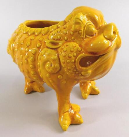 A Burmantofts faience grotesque model of a three legged toad