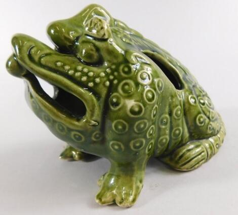 A Burmantofts type small grotesque figure of a toad