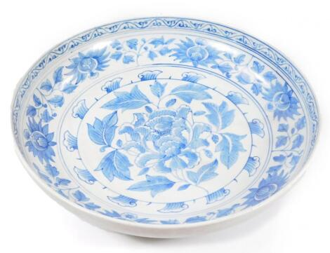 A Chinese Ming style blue and white porcelain dish