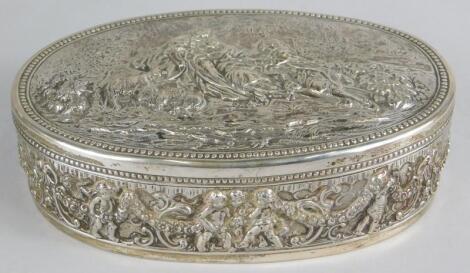 A German oval white metal box