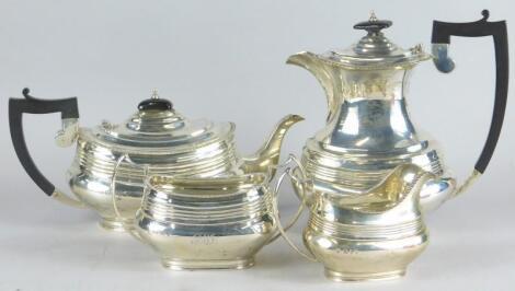 A George VI silver four piece tea set
