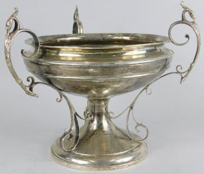 A George V silver three handled centrepiece