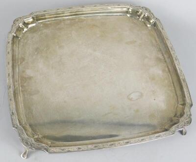 A George V square silver tray