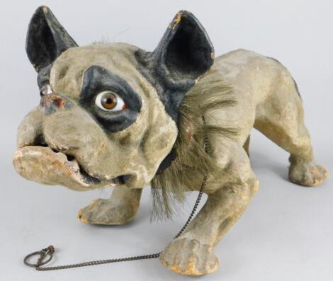 A late 19thC French papier maché model of a nodding French bulldog