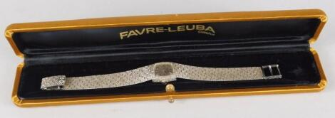 An 18ct white gold Favre-Leuba wristwatch