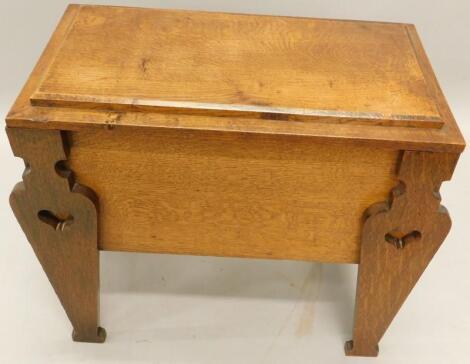 An Arts & Crafts style oak workbox
