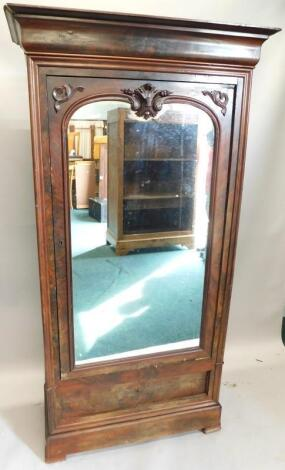 A 19thC French figured mahogany armoire
