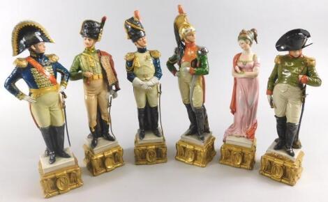 A set of six Capodimonte porcelain Napoleonic related figures