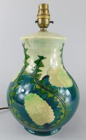 A Moorcroft pottery lamp base