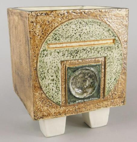 A Troika square section Newlyn rough textured jardiniere