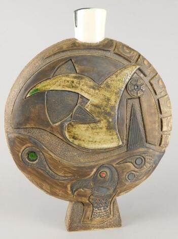 An unusual Troika style moon type flask