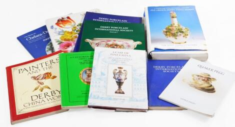 Ten copies of various reference works relating to Derby porcelain